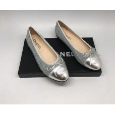 Женские брендовые  балетки Chanel Cruise комбинированные серебристый металлик